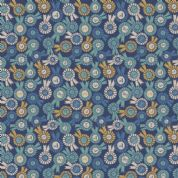 Lewis & Irene Farley Mount - 5578  - Rosettes on Navy Blue - A228.2 - Cotton Fabric